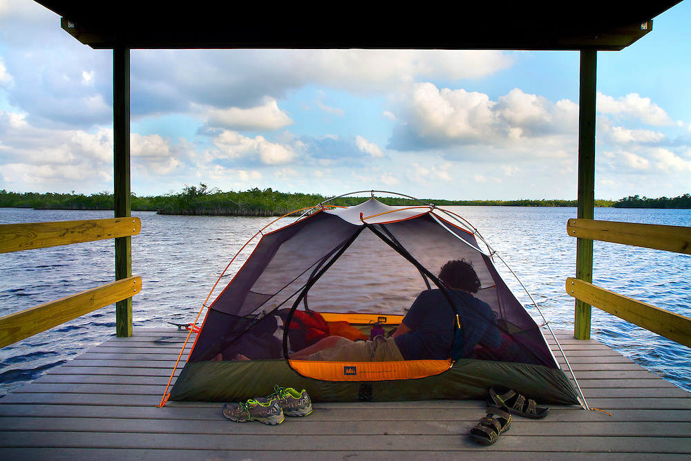 Camping at the Pearl Bay Chickee along the Hell's Bay Canoe Trail in Everglades National Park. A chickee is a raised camping platform above water for tents.