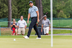 May 4, 2019 - Charlotte, NC, U.S. - CHARLOTTE, NC - MAY 04: Jason Day watches his long putt on the 3rd hole as it continues to role to the cup during the third round of the Wells Fargo Championship at Quail Hollow on May 4, 2019 in Charlotte, NC. (Photo by William Howard/Icon Sportswire) (Credit Image: © William Howard/Icon SMI via ZUMA Press)