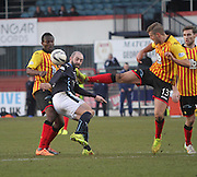 Partick Thistle's Frederic Frans clears from Dundee's Gary Harkins - Dundee v Partick Thistle, SPFL Premiership at Dens Park<br /> <br />  - &copy; David Young - www.davidyoungphoto.co.uk - email: davidyoungphoto@gmail.com