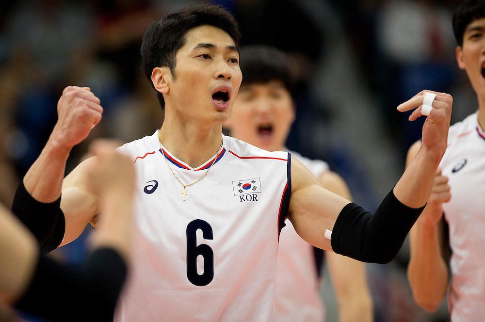 Hak-Min Kim (6) of Korea celebrates a winning point versus China at a World League Volleyball match at the Sasktel Centre in Saskatoon, Saskatchewan Canada on June 26, 2016.
