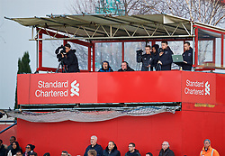 KIRKBY, ENGLAND - Friday, March 31, 2017: LFC TV commentator Steve Hunter and former academy coach Hughie McAuly during an Under-18 FA Premier League Merit Group A match between Liverpool and West Ham United at the Kirkby Academy. (Pic by David Rawcliffe/Propaganda)