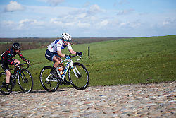 Lotta Lepistö (FIN) attacks the VAMberg cobbles at Drentse 8 van Westerveld 2019, a 145 km road race starting and finishing in Dwingeloo, Netherlands on March 15, 2019. Photo by Sean Robinson/velofocus.com