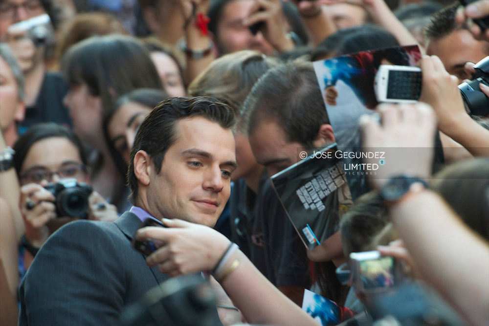 Actor Henry Cavill attends 'Man of Steel' premiere at Capitol Cinema on June 17, 2013 in Madrid, Spain