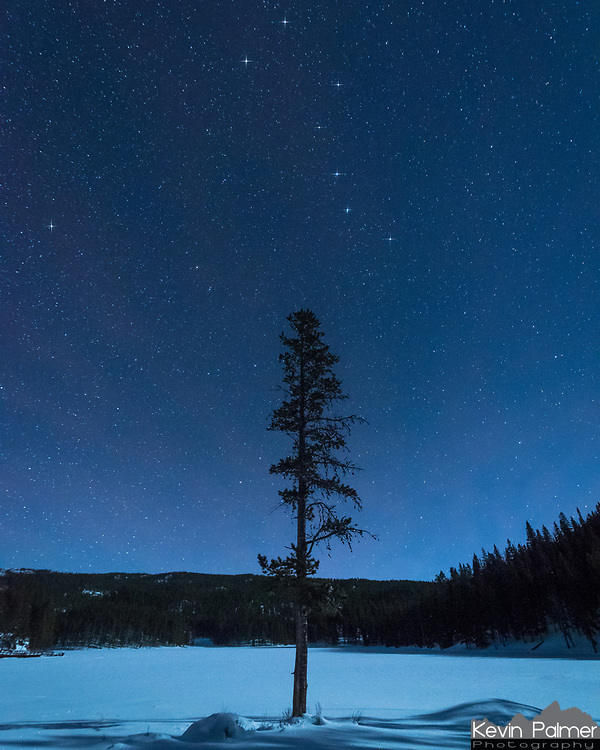 A lone pine tree on the edge of Sibley Lake points to the Big Dipper (Ursa Major) constellation above. The 2 stars on the end point to Polaris, the North Star on the left. All night long the Big Dipper will rotate counterclockwise while the North Star remains stationary. I added diffraction spikes to these 8 stars to make them stand out more.