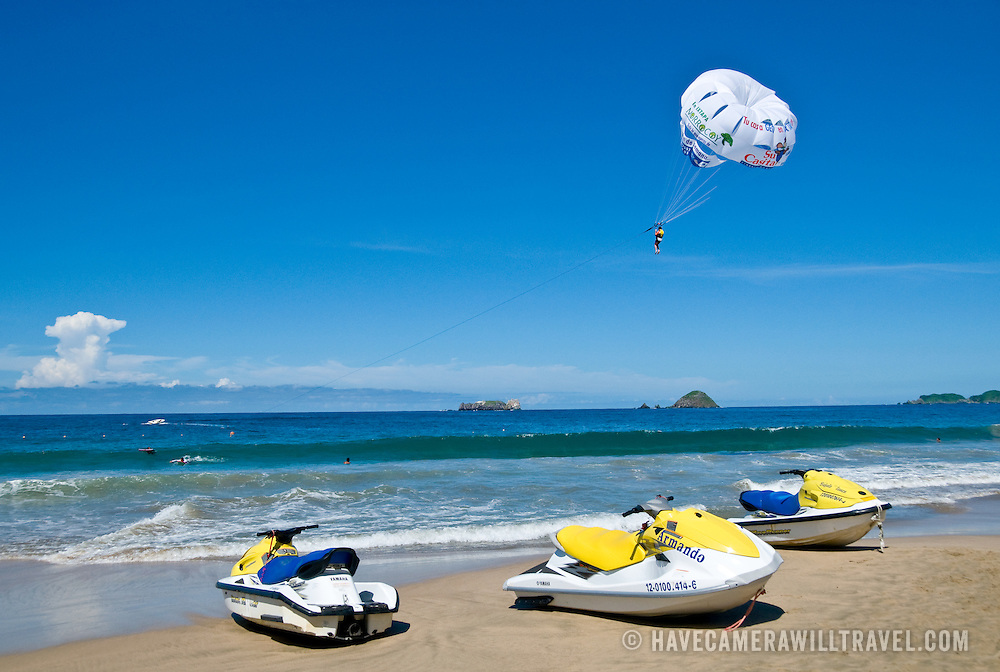 Jet skies on the beach at Bahia del Palmar (Palmar Bay) Ixtapa, Guerrero, Mexico