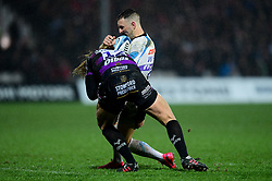 Nic White of Exeter Chiefs is tackled by Billy Twelvetrees of Gloucester Rugby - Mandatory by-line: Ryan Hiscott/JMP - 14/02/2020 - RUGBY - Kingsholm - Gloucester, England - Gloucester Rugby v Exeter Chiefs - Gallagher Premiership