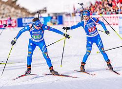20.02.2020, Suedtirol Arena, Antholz, ITA, IBU Weltmeisterschaften Biathlon, Single Mixed Staffel, im Bild v.l. Lukas Hofer (ITA), Dorothea Wierer (ITA) // f.l. Lukas Hofer of Italy and Dorothea Wierer of Italy during the Single mixed relay of IBU Biathlon World Championships 2020 at the Suedtirol Arena in Antholz, Italy on 2020/02/20. EXPA Pictures © 2020, PhotoCredit: EXPA/ Stefan Adelsberger