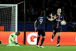 Zlatan Ibrahimovic of Paris Saint-Germain celebrates with teammate Edinson Cavani after scoring an equalising goal - Mandatory by-line: Robbie Stephenson/JMP - 06/04/2016 - FOOTBALL - Parc des Princes - Paris,  - Paris Saint-Germain v Manchester City - UEFA Champions League Quarter Finals First Leg