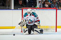 KELOWNA, CANADA - SEPTEMBER 2: Goalie Roman Basran #30 of the Kelowna Rockets deflects a shot during second period against the Victoria Royals on September 2, 2017 at Prospera Place in Kelowna, British Columbia, Canada.  (Photo by Marissa Baecker/Shoot the Breeze)  *** Local Caption ***