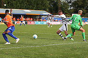 Braintree Town's goalkeeper Will Puddy(1) pulls the shirt of Forest Green Rovers Elliott Frear (11) in the penalty area, no penalty given during the Vanarama National League match between Braintree Town and Forest Green Rovers at the Amlin Stadium, Braintree, United Kingdom on 24 September 2016. Photo by Shane Healey.