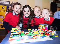Brigid Oliveira, Maya Brown, Cornelia Kulchane and Johanna Brady  from Scoil Rois Knocknacarra at the Galway Education centre's Junior First Lego League at the Radisson Blu hotel. Photo:Andrew Downes, xposure.