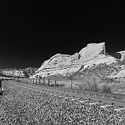 Mormon Rocks And Railroad Tracks - North View - Infrared Black & White