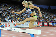 Emma Coburn (USA) places fourth in the women's steeplechase in 9:14.81 during the Weltklasse Zurich in an IAAF Diamond League meeting at Letzigrund Stadium in Zurich, Switzerland on Thursday, August 24, 2017.   (Jiro Mochizuki/Image of Sport)