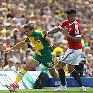 Gary O&rsquo;Neil of Norwich and Jesse Lingard of Manchester United in action during the Barclays Premier League match at Carrow Road, Norwich<br /> Picture by Paul Chesterton/Focus Images Ltd +44 7904 640267<br /> 07/05/2016