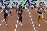 Dina Asher-Smith (Great Britain) winning the Women's 200 metres, Shelly Fraser-Pryce (USA), Dafne Schippers (Netherlands), during the IAAF Diamond League event at the King Baudouin Stadium, Brussels, Belgium on 6 September 2019.