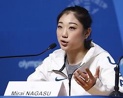 February 18, 2018 - Pyeongchang, KOREA - United States figure skater Marai Nagasu at press conference during the Pyeongchang 2018 Olympic Winter Games at Kwandong Hockey Centre. Finland beat Sweden 7-2. (Credit Image: © David McIntyre via ZUMA Wire)