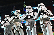 PHOENIX, AZ - MAY 14:  Star Wars Storm Troopers make hearts with their fingers for a photo prior to the MLB game at Chase Field on May 14, 2016 in Phoenix, Arizona.  (Photo by Jennifer Stewart/Getty Images)