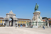 The Equestrian statue of Dom Jose I in the Praca do Comercio, located behind the statue in the large square is the Rua Augusta Arch.
