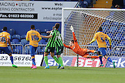 Chris Clements ferric equalisesduring the Sky Bet League 2 match between Mansfield Town and AFC Wimbledon at the One Call Stadium, Mansfield, England on 5 September 2015. Photo by Stuart Butcher.