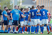 The referee calls a drinks break due to conditions during the Pre-Season Friendly match between Chesterfield and Sheffield United at Proact Stadium, Whittington Moor, United Kingdom on 23 July 2019.