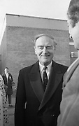 Liam Cosgrave Votes In General Election (E47).1973..28.02.1973..02.28.1973..28th February 1973..After sixteen consecutive years of Fianna Fail Government the Irish people went to the polls today to elect a new government. Mr Liam Cosgrave hoped that a coalition with Labour would oust the current office holders...Photo of Mr and Mrs Cosgrave being greeted by a well wisher as they left the polling station.