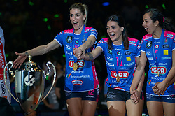 18-05-2019 GER: CEV CL Super Finals Igor Gorgonzola Novara - Imoco Volley Conegliano, Berlin<br /> Igor Gorgonzola Novara take women's title! Novara win 3-1 / Francesca Piccinini #12 of Igor Gorgonzola Novara, Stefania Sansonna #11 of Igor Gorgonzola Novara, Letizia Camera #3 of Igor Gorgonzola Novara