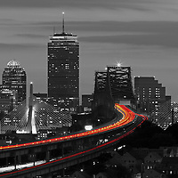 This selective color B&W Boston skyline photography image is available as museum quality photography prints, canvas prints, acrylic prints or metal prints. Prints may be framed and matted to the individual liking and decorating needs: <br />