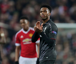 MANCHESTER, ENGLAND - Wednesday, March 16, 2016: Liverpool's Daniel Sturridge applauds the supporters as he is substituted against Manchester United during the UEFA Europa League Round of 16 2nd Leg match at Old Trafford. (Pic by David Rawcliffe/Propaganda)
