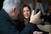 Crystal Lequang socializes during the Business of Cannabis event at the Silicon Valley Capital Club in San Jose, California, on April 4, 2019. (Stan Olszewski for Silicon Valley Business Journal)