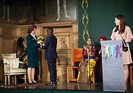 Dieu Merci Nshamamba handing flowers to H.M. Queen Silvia at the World&rsquo;s Children&rsquo;s Prize Ceremony 2017 at Gripsholms Castle in Mariefred, Sweden. Photo: Sofia Marcetic/World's Children's Prize<br />
