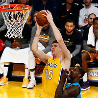28 February 2017: Los Angeles Lakers center Ivica Zubac (40) goes for the dunk during the Charlotte Hornets 109-104 victory over the LA Lakers, at the Staples Center, Los Angeles, California, USA.