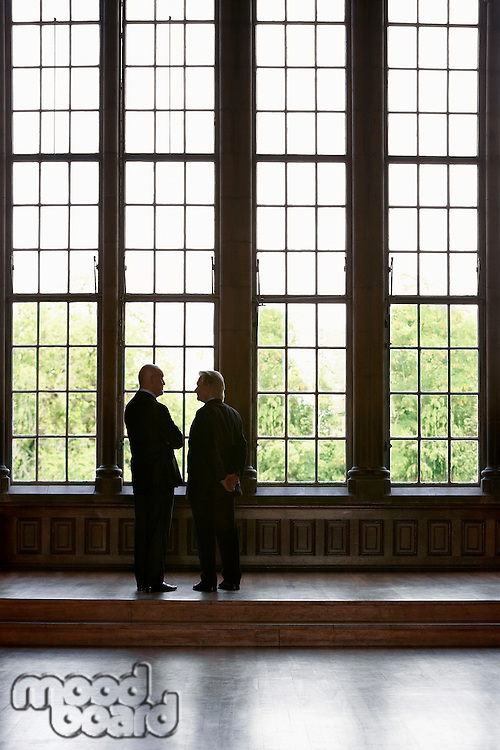 Two Men Conversing by tall windows