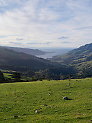 Afternoon high-angle view of the Banks Peninsula, Akaroa and Akaroa Harbor, Canterbury, New Zealand; June 2013