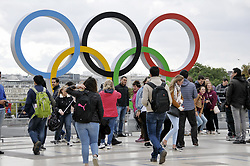 A picture taken on September 14, 2017 shows the Olympics Rings on the Trocadero Esplanade near the Eiffel Tower in Paris, after the International Olympic Committee named Paris host city of the 2024 Summer Olympic Games. The International Olympic Committee named Paris and Los Angeles as hosts for the 2024 and 2028 Olympics on September 13, 2017, crowning two cities at the same time in a historic first for the embattled sports body. Photo by Alain Apaydin/ABACAPRESS.COM