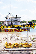 Sign welcoming people to New Plymouth, Green Turtle Cay, Bahamas.