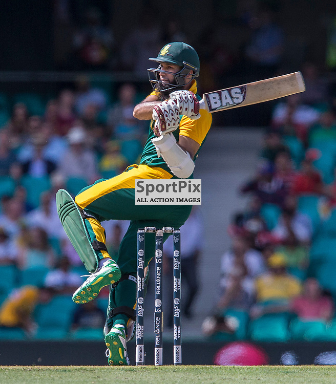 ICC Cricket World Cup 2015 Tournament Match, South Africa v West Indies, Sydney Cricket Ground; 27th February 2015<br /> South Africa&rsquo;s Hashim Amla plays a hook shot