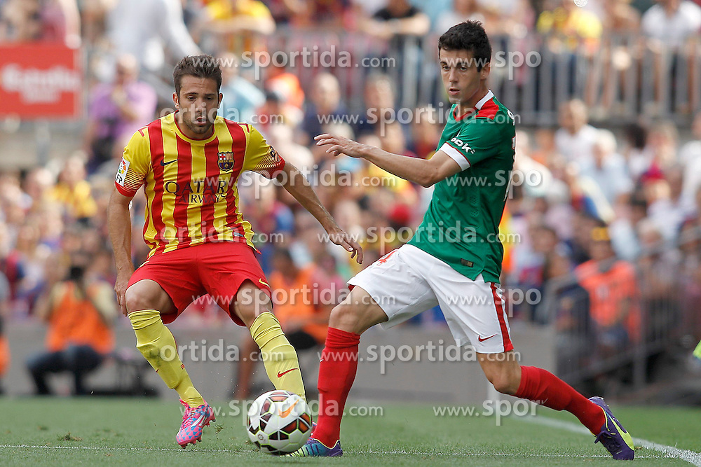 13.09.2014, Camp Nou, Barcelona, ESP, Primera Division, FC Barcelona vs Athletic Club Bilbao, 3. Runde, im Bild FC Barcelona's Jordi Alba (l) and Atletic de Bilbao's Markel Susaeta // during the Spanish Primera Division 3rd round match between FC Barcelona and Athletic Club Bilbao at the Camp Nou in Barcelona, Spain on 2014/09/13. EXPA Pictures &copy; 2014, PhotoCredit: EXPA/ Alterphotos/ Acero<br /> <br /> *****ATTENTION - OUT of ESP, SUI*****