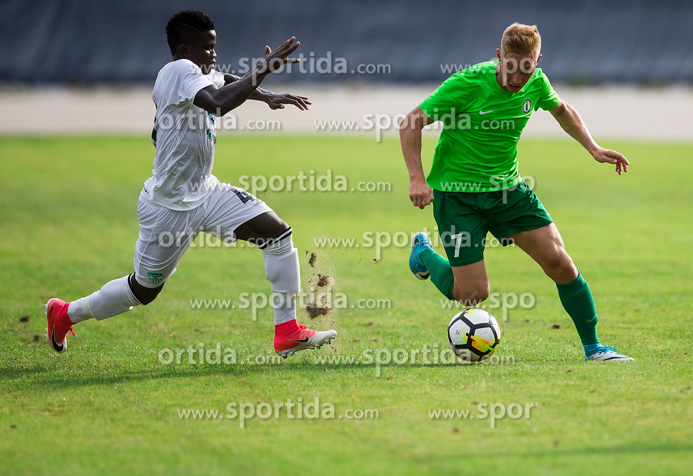 Chibueze Gerald Diyoke of NK Krsko vs Ziga Vidic of ND Ilirija/ during football match between ND Ilirija 1911 and NK Krsko in 1st Round of Slovenian Football Cup 2017/18, on August 16, 2017 in Stadium Ilirija, Ljubljana, Slovenia. Photo by Vid Ponikvar / Sportida