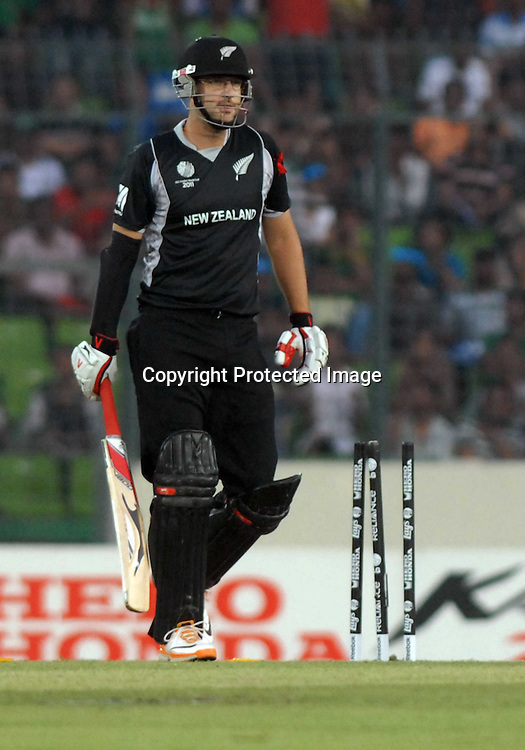 Daniel Vettori (Captain) of New Zealand during the ICC Cricket World Cup quarter final match between South Africa and New Zealand held at the Shere Bangla National Stadium, Mirpur, Bangladesh on the 25 March 2011..Photo by SPORTZPICS