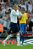 Photo: Richard Lane.<br />England v Brazil. International Friendly. 01/06/2007. <br />BEngland's David Beckham shows his frustration after a free kick.
