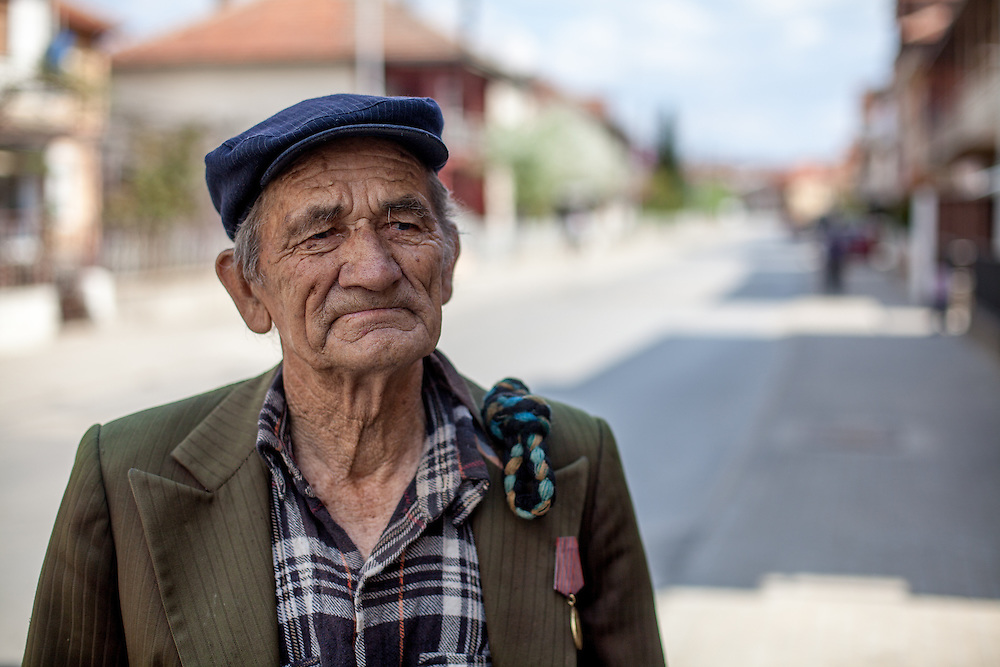 Portrait of a veteran at the Roma part of Delcevo during door to door activity with Romina. The NGO workers visit families, deliver brochures and putting up posters in the community to inform about health related issues and patients rights.