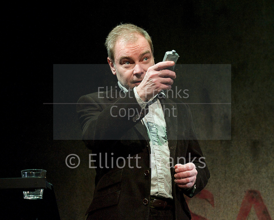 Ghost Stories <br /> by Jeremy Dyson and Andy Nyman<br /> at The Arts Theatre, London, Great Britain <br /> Press photocall<br /> 25th February 2014<br /> <br /> <br /> Philip Whitchurch as Tony Matthews<br /> Chris Levens as Simon <br /> Paul Kemp as Professor Goodman <br /> Jeremy Dyson and Andy Nyman<br /> <br /> <br /> Photograph by Elliott Franks