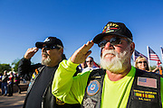08 OCTOBER 2013 - PHOENIX, AZ: US military veterans salute at a ceremony interring the cremated remains of unclaimed US military veterans at the National Memorial Cemetery in Phoenix. The cremated remains of 36 unclaimed US military veterans were interred at the National Memorial Cemetery in Phoenix. Members of the US military and several hundred veterans of the US military attended the service, which was a part of the Missing In America Project (MIAP).     PHOTO BY JACK KURTZ