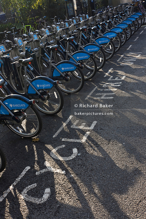 Barclays rental Boris Bikes stationed on dock in Soho Square, London...Barclays Cycle Hire is a public bicycle sharing scheme that was launched on 30 July 2010 in London, UK. At launch there were 315 bicycle docking stations and 5,000 bicycles available in central London. The scheme is also informally called the Boris Bike scheme after mayor Boris Johnson, who was in office at the time the scheme opened to the public. The project initially covered about 17 square miles (44 square kilometres) of central London - roughly the same area as the 'Zone 1' Travelcard area (covering the whole of the City of London and parts of eight London boroughs)[5]  and will cost an estimated £140 million (more than £20,000 per available bike) over six years. It is expected to pay for itself over time.[6] Barclays' contribution is £25 million.[The bicycles and the docking stations are built in Canada and are based on Bixi, Montreal's bicycle rental system. Fitzrovia, Wells Street docking station being installed. Over 500,000 bicycle trips were made within the first six weeks of the launch of the scheme.