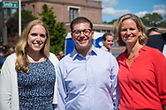 Merrick, New York, USA. September 9, 2017.  SUE MOLLER, of Merrick, Democratic candidate for Hempstead Town Council District 6, and LAUREN CURRAN, Democratic candidate for Nassau County Supervisor, attend the Merrick Fall Festival and Street Fair.