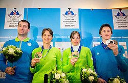 Tomaz Razingar, Teja Gregorin, Vesna Fabjan and Peter Prevc at reception of Slovenia team arrived from Winter Olympic Games Sochi 2014 on February 19, 2014 at Airport Joze Pucnik, Brnik, Slovenia. Photo by Vid Ponikvar / Sportida