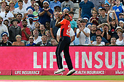 Wicket - Chris Jordan of England catching Aaron Finch of Australia off the bowling of Adil Rashid of England during the International T20 match between England and Australia at Edgbaston, Birmingham, United Kingdom on 27 June 2018. Picture by Graham Hunt.