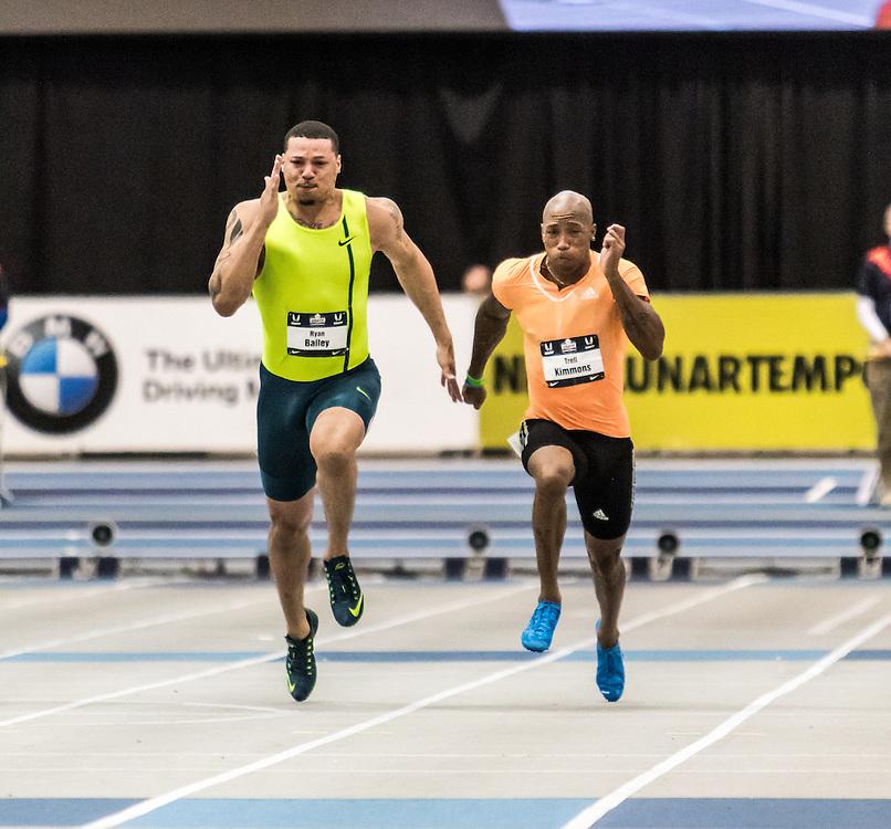 USATF Indoor Track & Field Championships: mens 60, Ryan Bailey, Trell Kimmons
