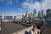 Granville Island. View towards downtown and Burrard bridge.
