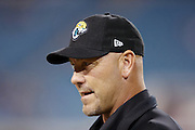 Jacksonville Jaguars head coach Gus Bradley looks on while chatting before the NFL week 14 football game against the Houston Texans on Thursday, Dec. 5, 2013 in Jacksonville, Fla. The Jaguars won the game 27-20. ©Paul Anthony Spinelli